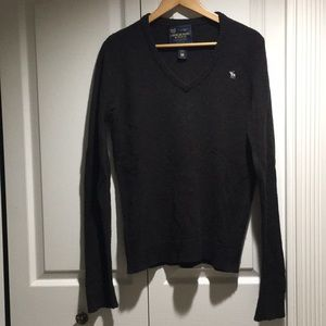 A&F Mens Lambs Wool V Neck Sweater Dark Brown M